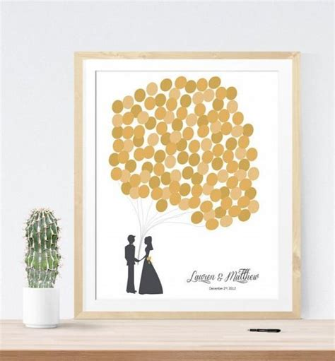 Gold Wedding Guest Book Alternative With Personalized