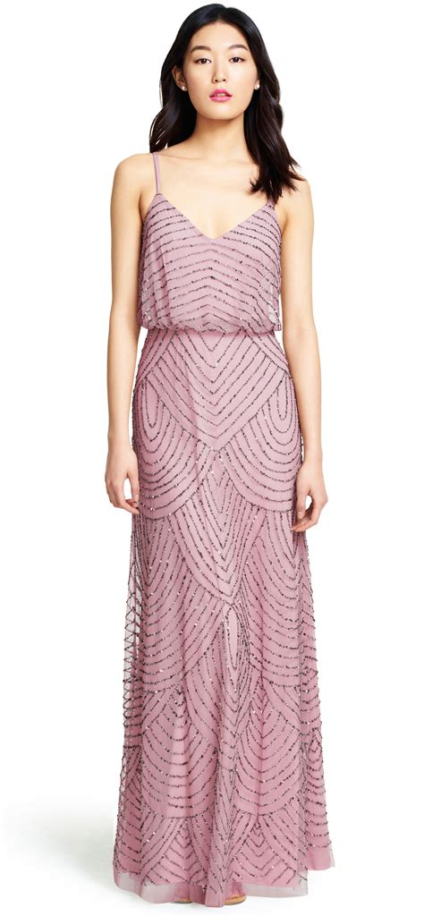 beaded gown papell deco beaded blouson gown in lyst