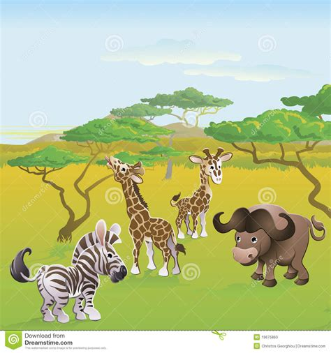 film cartoon zoo cute african safari animal cartoon scene stock photos