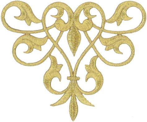 gold applique fleur de lis abstract design gold metallic applique