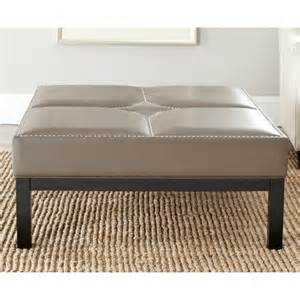 Safavieh terrence clay grey leather cocktail ottoman free shipping