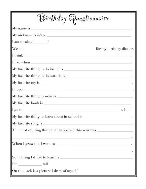 our daily legacy birthday questionnaire