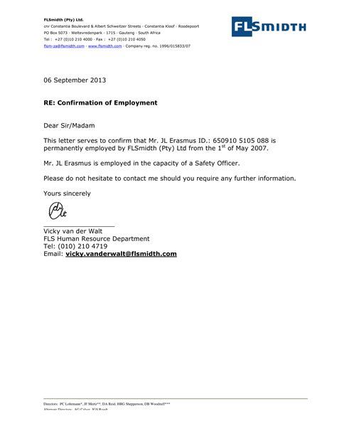 letter verifying employment recent plus job continuation application