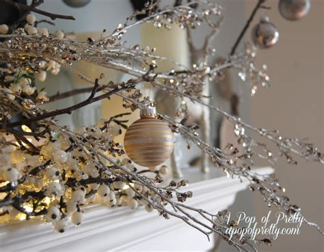 simple christmas mantel decor branches bulbs a pop