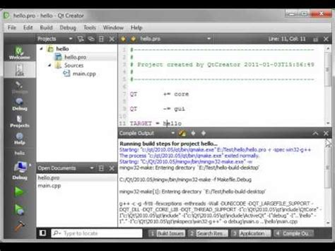 qt programming hello world c qt 2 hello world youtube