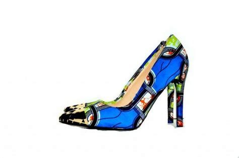 blue patterned heels blue african print shoes ankara fabric shoes blue shoes