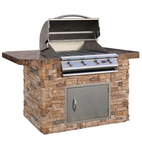 cal 6 ft grill island with bar depth top and