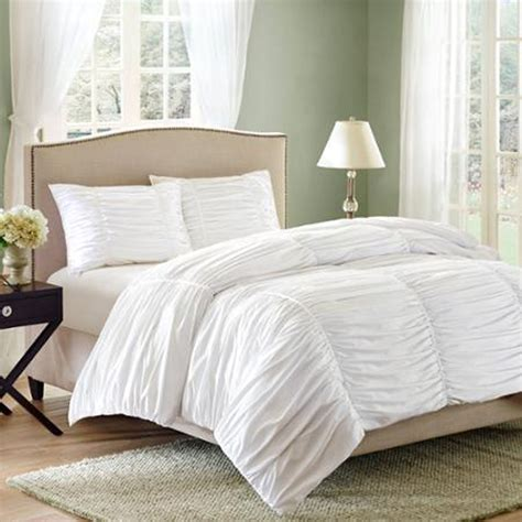 White Ruched Bedding Set Full Queen Size Bed Duvet