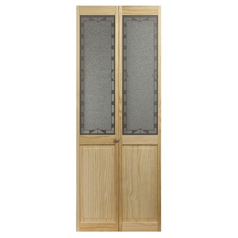 Bifold Closet Doors Lowes Pinecroft 1 Lite Solid Pine Bifold Closet Door