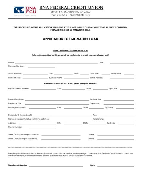 Credit Loan Form Credit Union Loan Application Form Sle Free