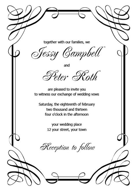 free wedding layout templates free printable wedding invitation templates for word