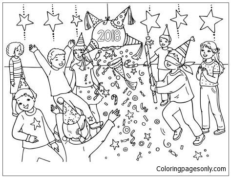 coloring page new year 2018 2018 new year pinata coloring page free coloring pages