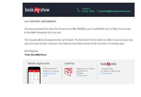 bookmyshow email didn tbookmyshow bookmyshow com consumer review