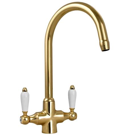 kitchen sink mixer taps uk colonial english gold double white ceramic handle kitchen