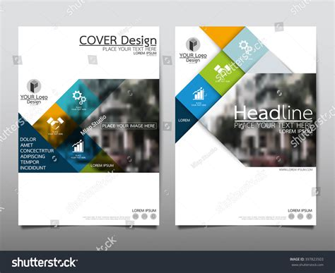presentation layout cover blue square annual report brochure flyer stock vector