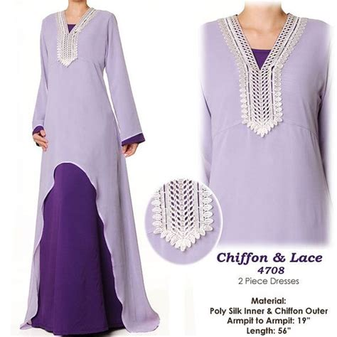 Gamis Kaftan 2 Tone purple lavender lace chiffon abaya islamic sleeves