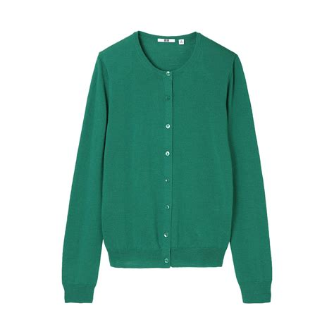 Cardigan Uniqlo Uniqlo Merino Crew Neck Cardigan In Green