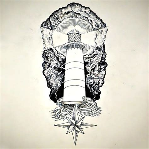 nautical light tower tattoo design