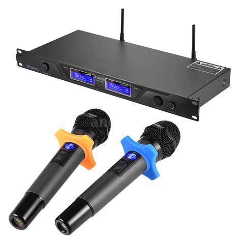 Mic Wireless Doubel Sound Uhf Dielngkapi Lcd Display professional uhf wireless microphone mic system dual channels lcd display w3b9 ebay