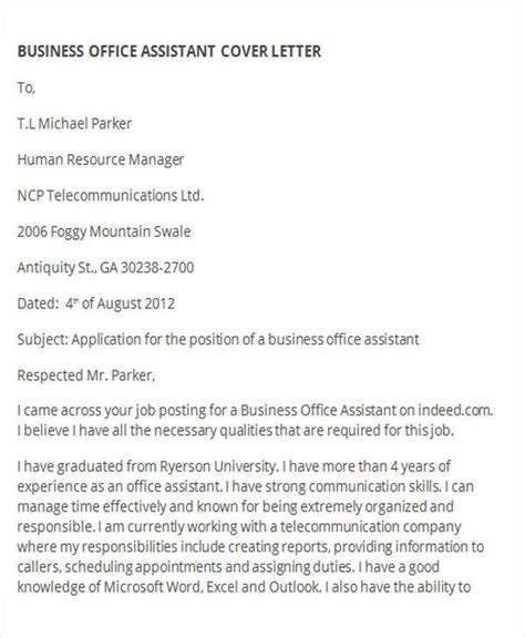 Business Assistant Cover Letter by 44 Business Letter Exles