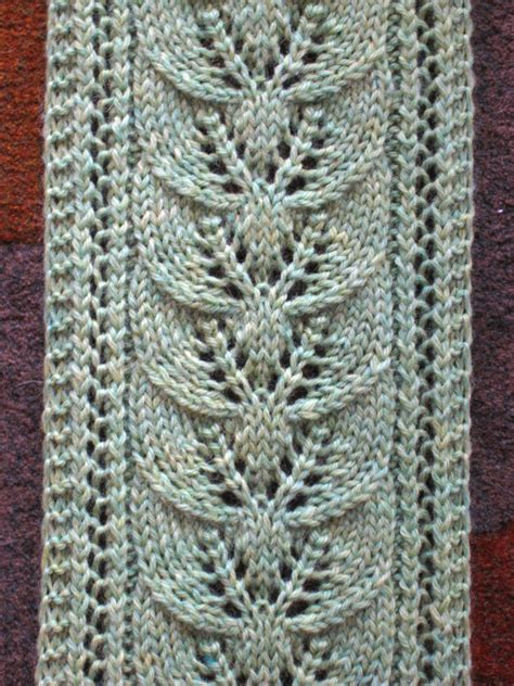 free knit scarf pattern s column of leaves knitted scarf pattern