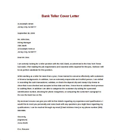 Cover Letter For Bank Teller by Sle Cover Letters For 9 Exles In Word Pdf