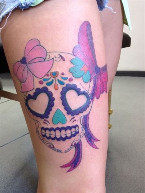 skull bow tattoo designs girly skull sugar skull pink bows thigh