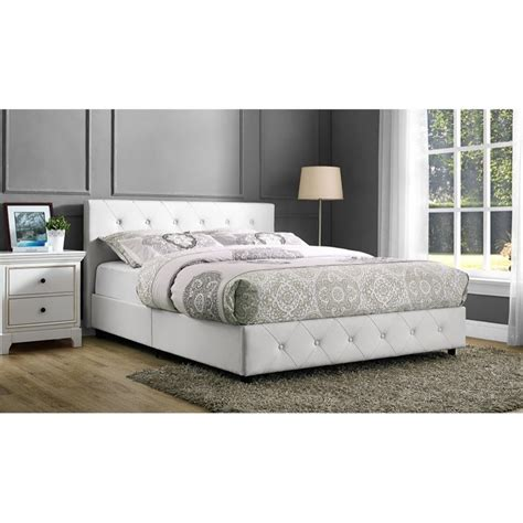 full bed white upholstered faux leather full bed in white 4027139