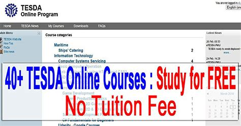 online tutorial in the philippines study 40 tesda courses online for free no tuition fee