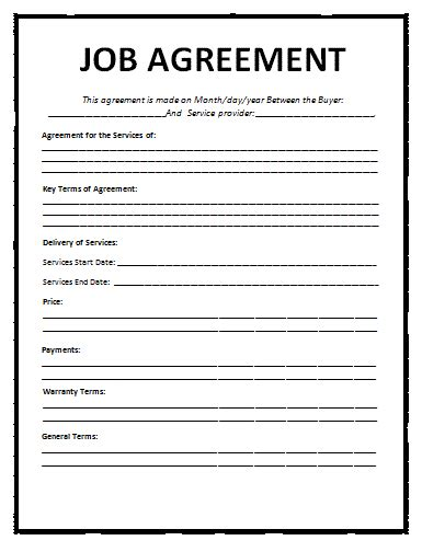 work agreement contract template agreement template free word templatesfree word