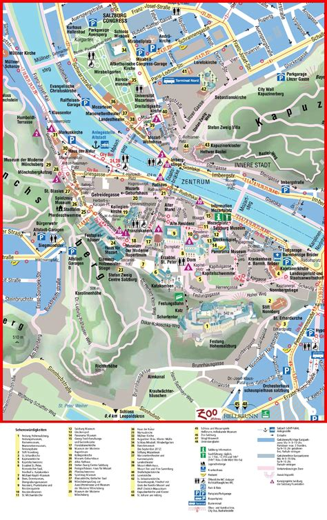 city map with attractions maps update 12001550 tourist map of salzburg 14 top