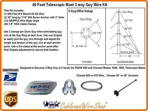 foot telescopic antenna mast    guy wire kit
