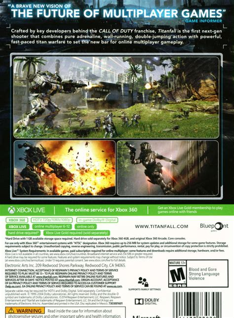 Original Xbox 360 Titanfall titanfall 2014 xbox 360 box cover mobygames
