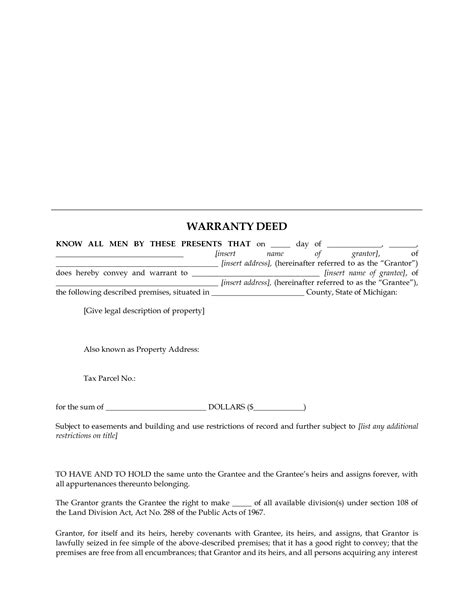 Michigan Warranty Deed Form Hunt Hankk Co Michigan Warranty Deed Template
