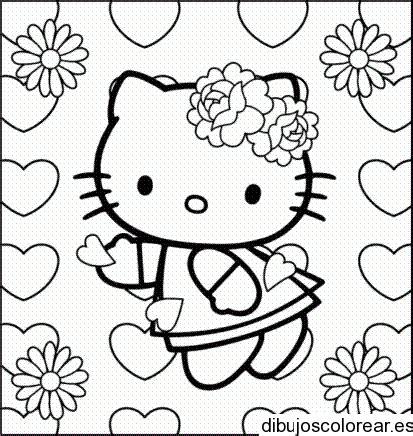 imagenes de flores y corazones infantiles dibujo de hello kitty con flores y corazones