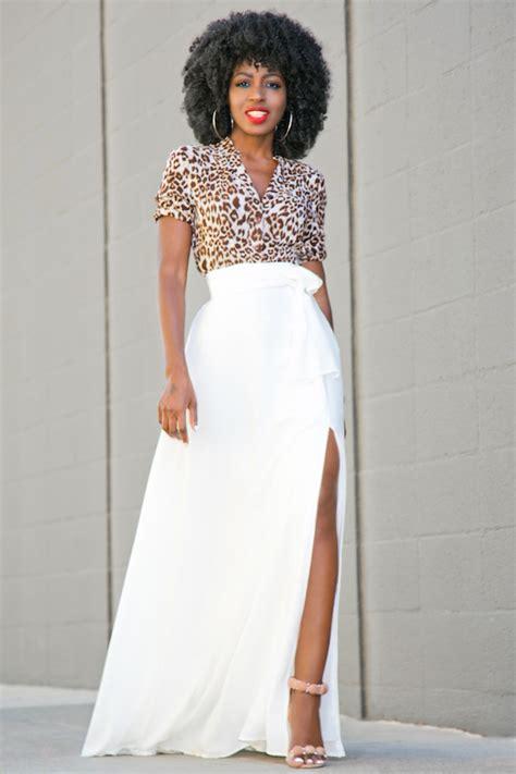 style pantry leopard print shirt thigh slit maxi skirt