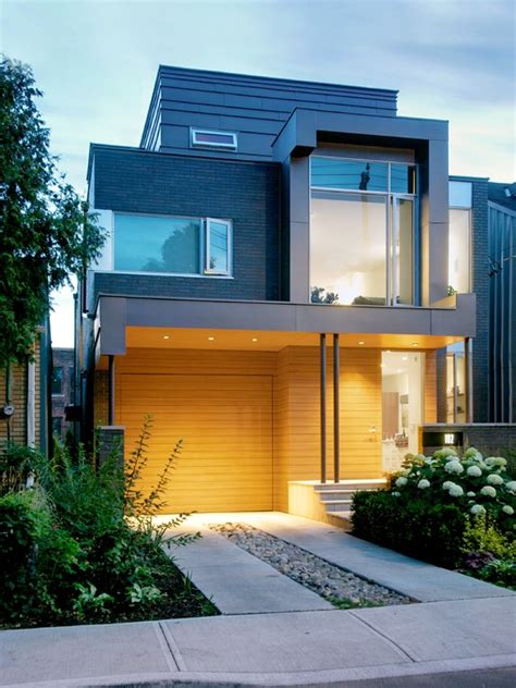 six cool and contemporary house exteriors toronto and cool house design with wooden garage door look stylish and