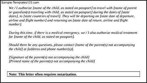 notarized letter template for child travel notarized letter for child travel with parents pdf