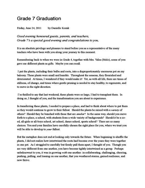 graduation speech template free download