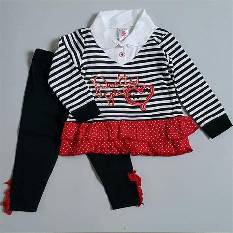 Celana Kaos Anak Perempuan jual baju setelan celana kaos anak bayi perempuan murah stripes 15965 koleksi dira