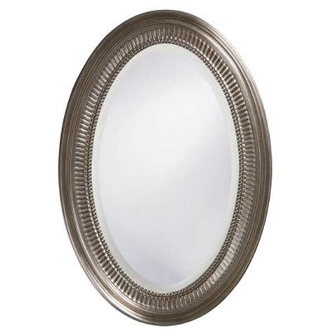 oval wall mirrors brushed nickel oval bathroom mirrors 31 in x 21 in brushed nickel notched oval framed mirror