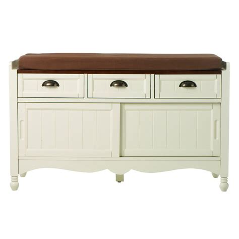 Cushion Storage Bench Home Decorators Collection Southport Ivory Oak 42 In W Shoe Storage Bench With Cushion