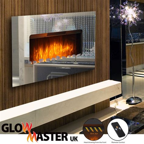 contemporary electric fires uk tempered mirror glass wall mounted electric fireplace