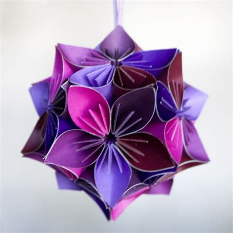 mini kusudama purple pink origami flower
