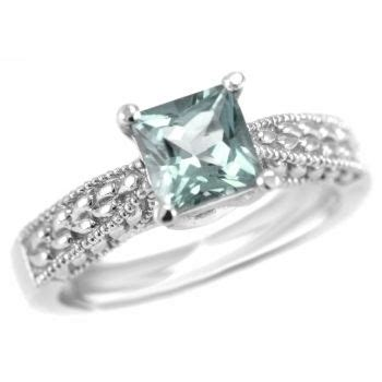 princess cut blue aquamarine engagement ring 14k gold