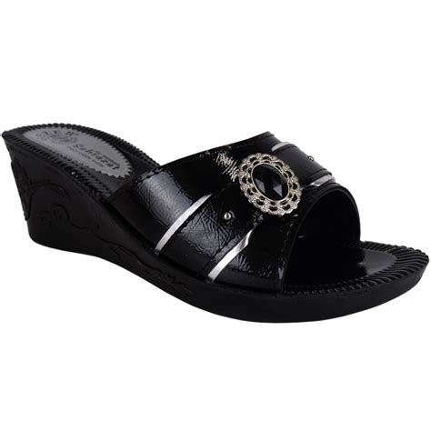 womens black small wedges summer sandals mules size 4 ebay