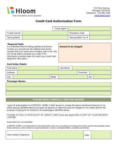 credit card authorization form template for air ticket credit card authorization forms hloom