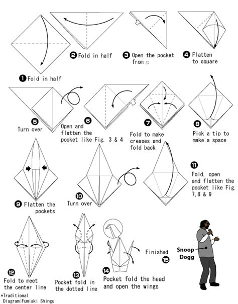 Japanese Origami Facts - how to fold paper crane how it works snoop dogg