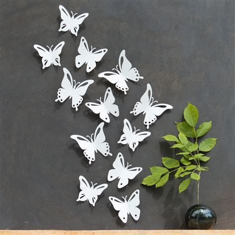 Stiker Hiasan Dinding Butterfly 3d 1 Set 12 Pcs white butterfly wall decor 3d set of 12 popart made in
