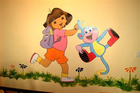kids bedroom wall paintings thousandoceansinside kids room wall painting dora and boots